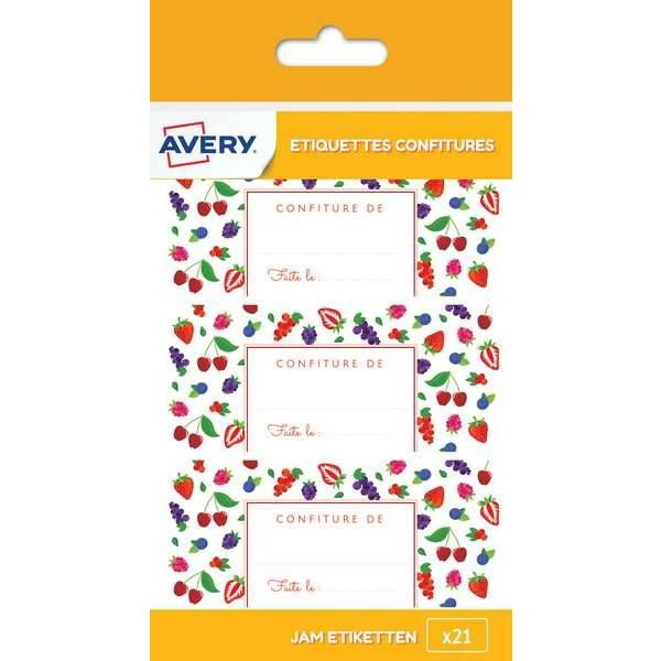 21 étiquettes autocollantes pour pot de confiture fruits rouges - Avery (photo)