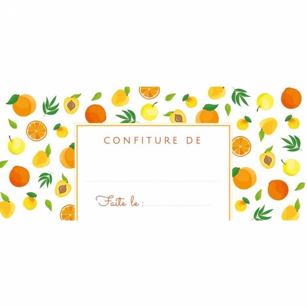 Etiquettes autocollantes pot de confiture fruits jaunes 95x40 mm - 64 unités