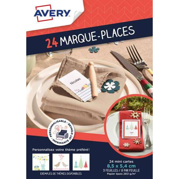 24 marque-places inscriptibles - Avery (photo)