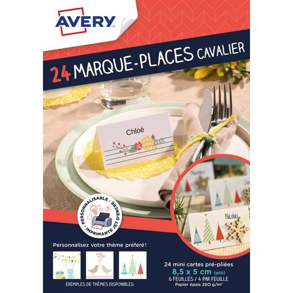 24 marque-places cavalier inscriptibles - Avery (photo)