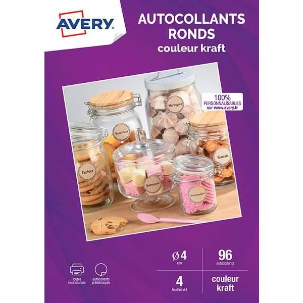 Autocollantes ronds couleur kraft - 4 cms - Impression jet d'encre - Avery - par (photo)