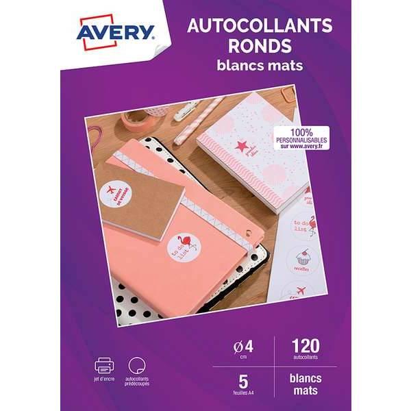 Autocollants ronds mats - 4 cms - Impression jet d'encre - Avery - par 120 (photo)