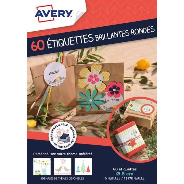 Etiquettes brillantes rondes inscriptibles - 60 unités