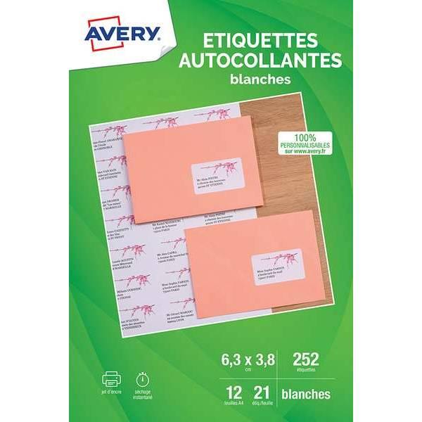 Etiquettes adresses blanches 63,5x38,1mm - Impression jet d'encre - 252 unités