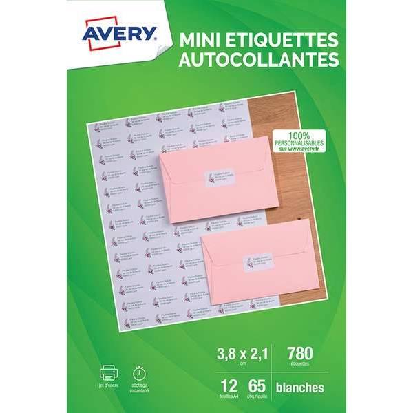 Mini-étiquettes blanches 38,1x21,2mm - Impression jet d'encre  - 780 unités