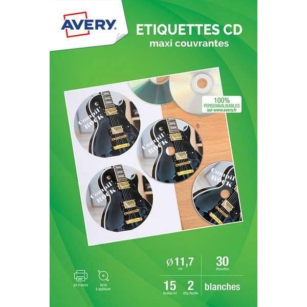 30 étiquettes CD maxi couvrantes ?11,7 cm - Impression jet d'encre - Avery (photo)