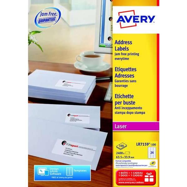 2400 étiquettes recyclées 63,5 x 33,9mm - Impression laser (LR7159) - Avery (photo)