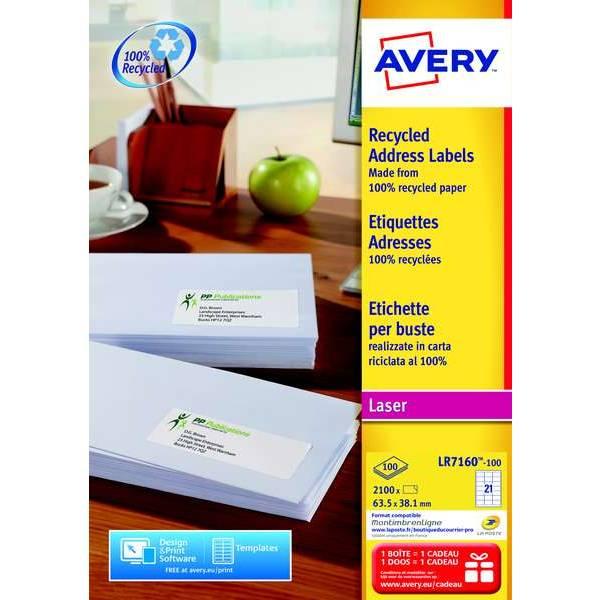 2100 étiquettes recyclées 63,5 x 38,1mm - Impression laser (LR7160) - Avery (photo)