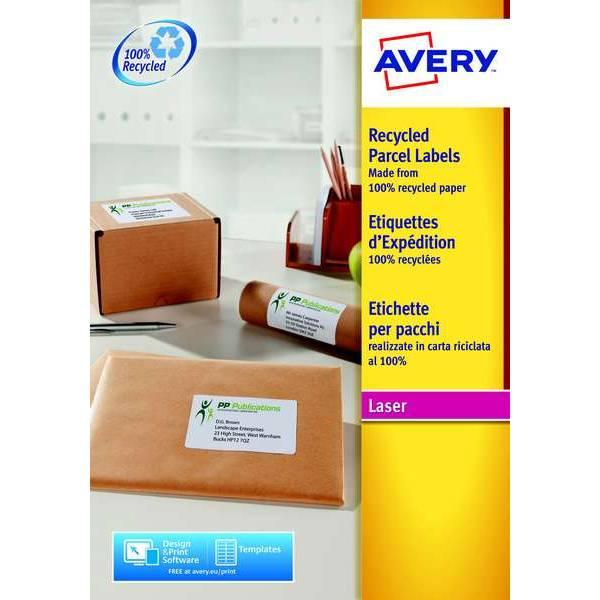 100 étiquettes recyclées 199,6 x 289,1 mm - Impression laser (LR7167) - Avery (photo)