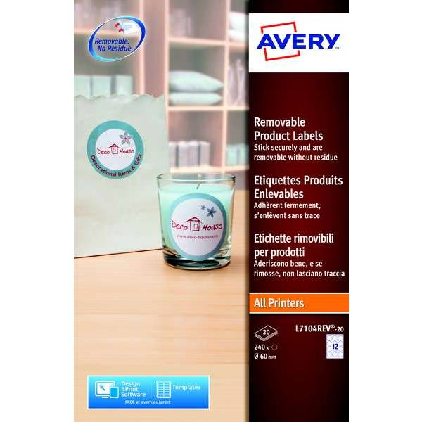 240  étiquettes rondes amovibles - Ø 60 mm - Impression laser/JE - Avery (photo)