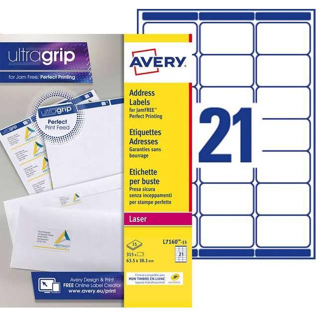 Etiquettes adresses blanches 63,5 x 38,1 mm Laser (L7160-15) - 315 unités