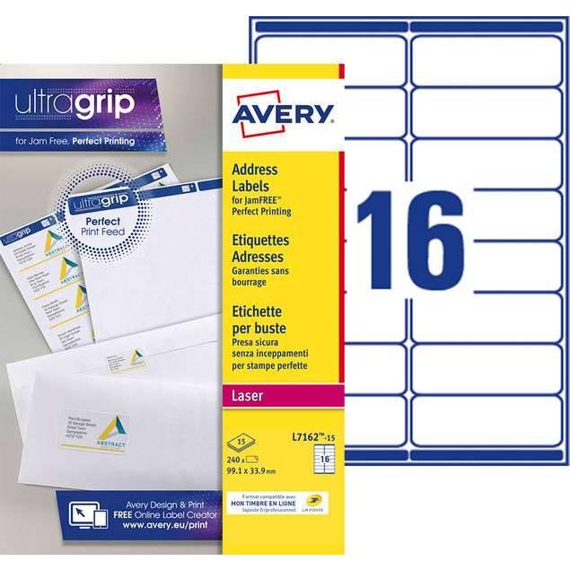 Etiquettes adresses blanches 99,1 x 33,9 mm Laser (L7162-15) - 240 unités