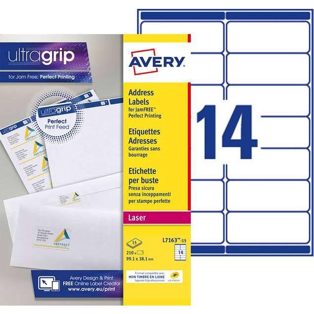 Etiquettes adresses blanches 99,1 x 38,1 mm Laser (L7163-15) - 210 unités