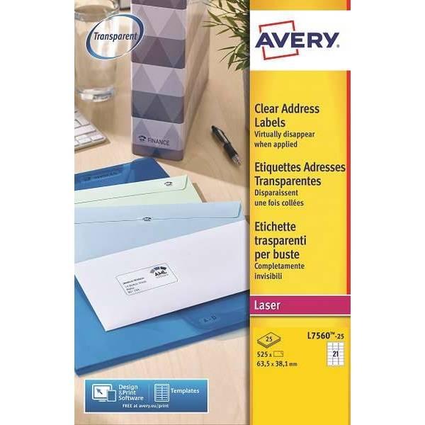 Etiquettes adresses transparentes 63,5 x 38,1 mm Laser (L7560-25) - 525 unités