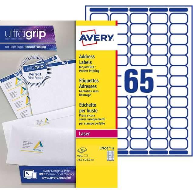 Mini étiquettes adresse blanches 38,1 x 21,2 mm Laser (L7651-15) - 975 unités