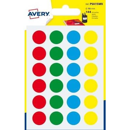 144 pastilles autocollantes couleurs assorties Ø 15mm - Avery (photo)