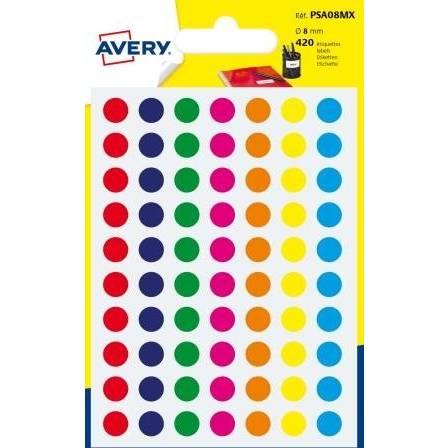420 pastilles autocollantes couleurs assorties Ø 8mm - Avery (photo)