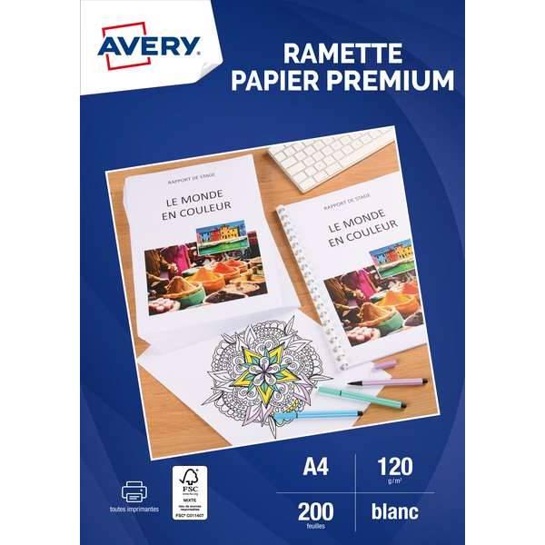 Feuilles papier A4 - 120g/m² - FSC - Impression laser/jet d'encre - 200 unités