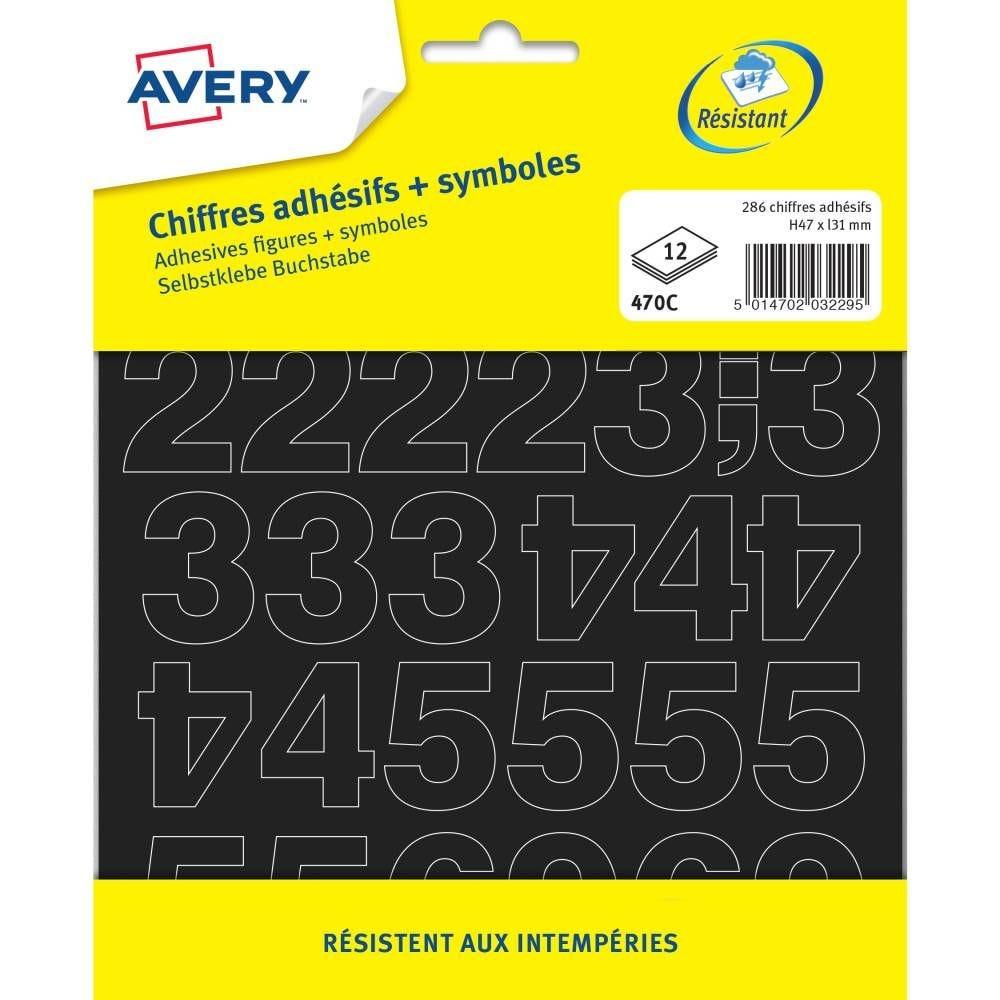 286 chiffres adhésifs et symboles noirs 47mm - Avery (photo)