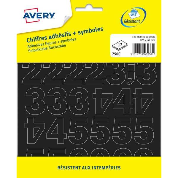 138 chiffres adhésifs et symboles noirs 75mm (750C) - Avery (photo)