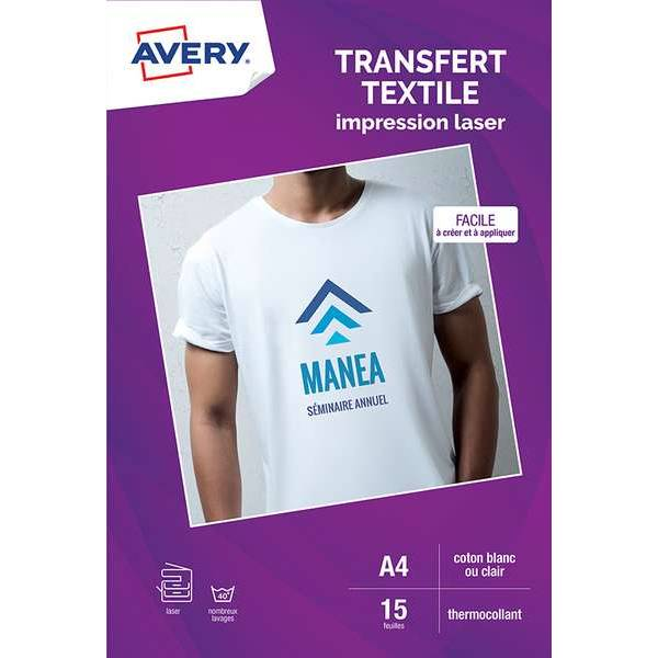15 transferts t-shirt textile blanc/clair - A4 - Impression laser - Avery (photo)