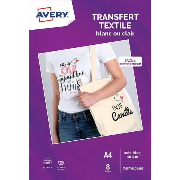 8 transferts t-shirt textile blanc/clair - A4 - Impression jet d'encre - Avery (photo)