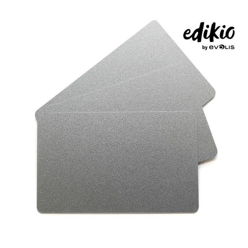 Carte compatible imprimante Edikio PVC Argent - lot de 100 unités