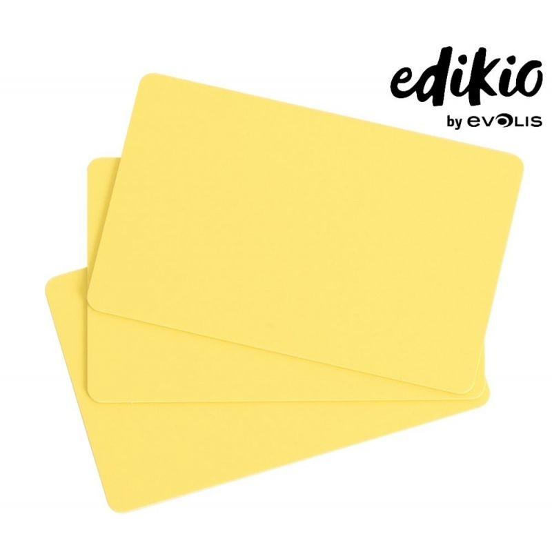 Carte compatible imprimante Edikio PVC jaune - lot de 100 unités