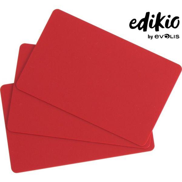 Carte compatible imprimante Edikio PVC rouge - lot de 100 unités