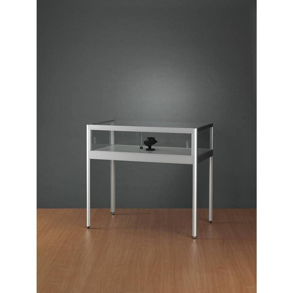 Vitrine table plate grise 100x60x92 cm