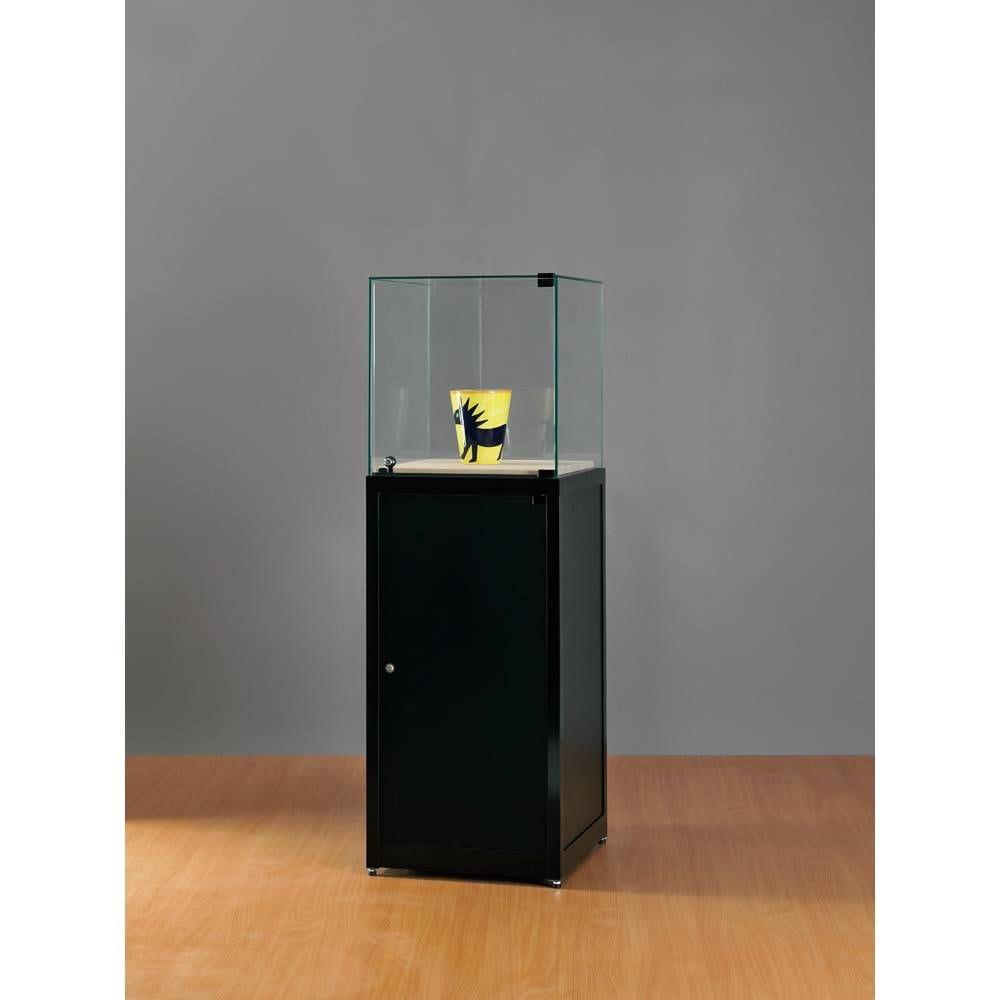 Vitrine cloche sur socle avec rangement gris 50x50x150 cm