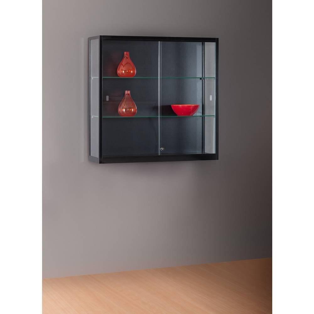 Vitrine murale noire sans éclairage 100x30x98 cm
