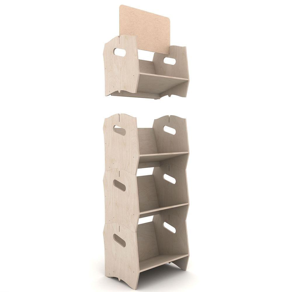 Étagère bibliothèque IZZIBOOK© en contreplaqué de peuplier - 4 modules
