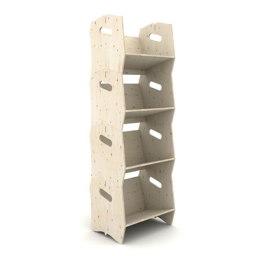 Étagère bibliothèque IZZIBOOK© en contreplaqué de pin - 4 modules