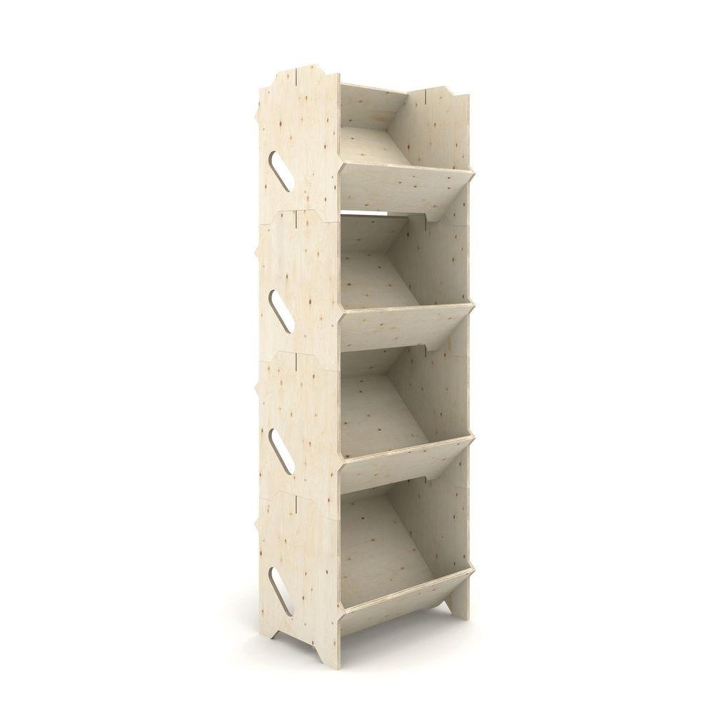 Présentoir bois IZZIBOX© en contreplaqué de pin - 4 modules emboitables