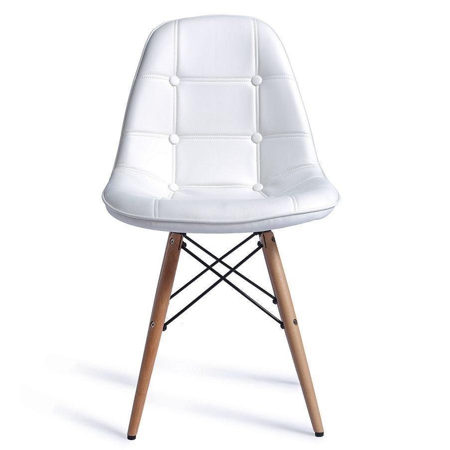 Chaise eiffel capitonnée blanche