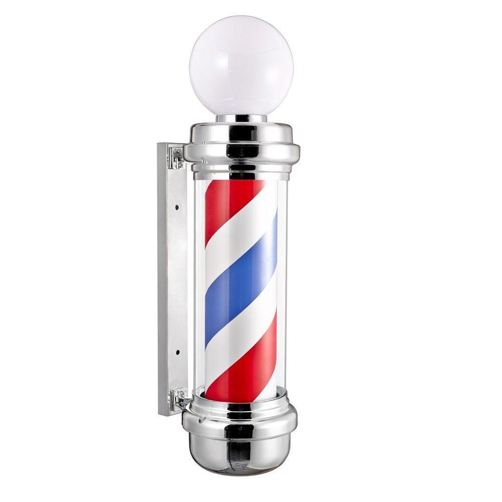 Barber pole - bleu, blanc, rouge, avec boule