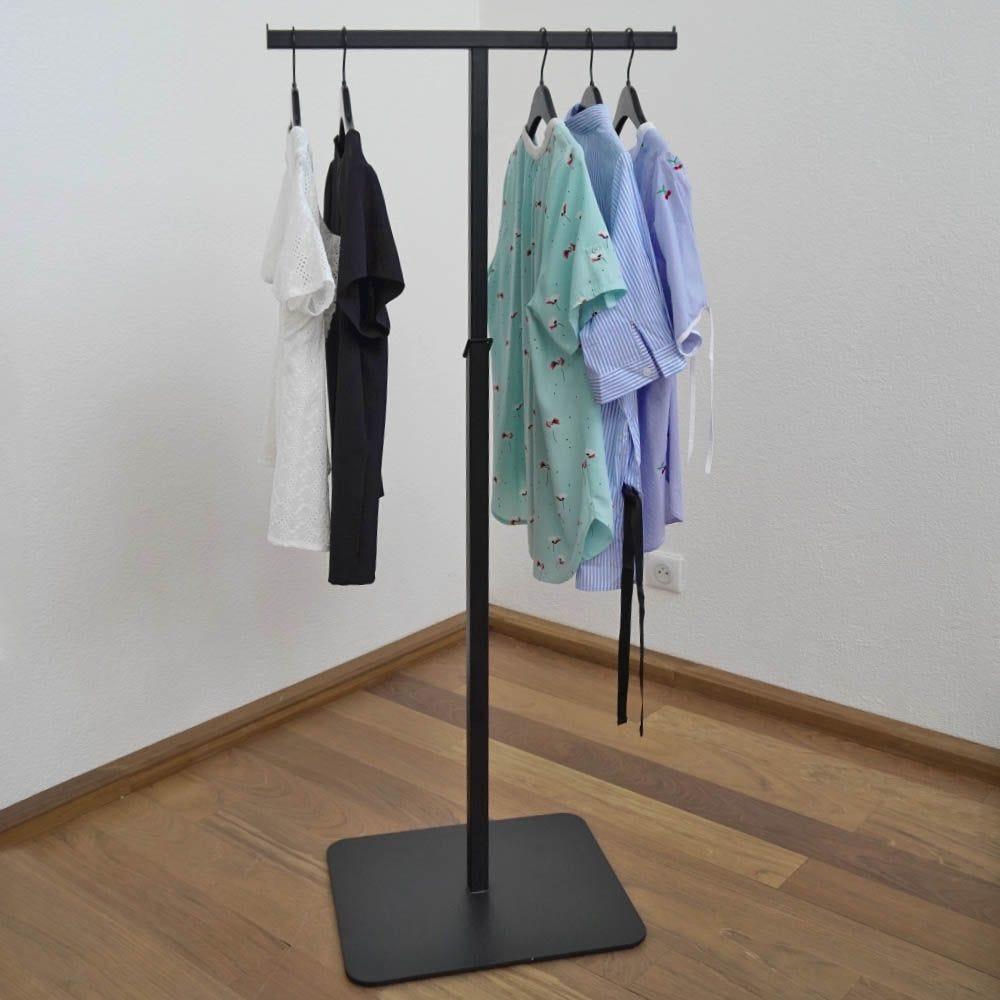 Portant textile bras droit - acier coloris noir - hauteur reglable 115 à 175cm