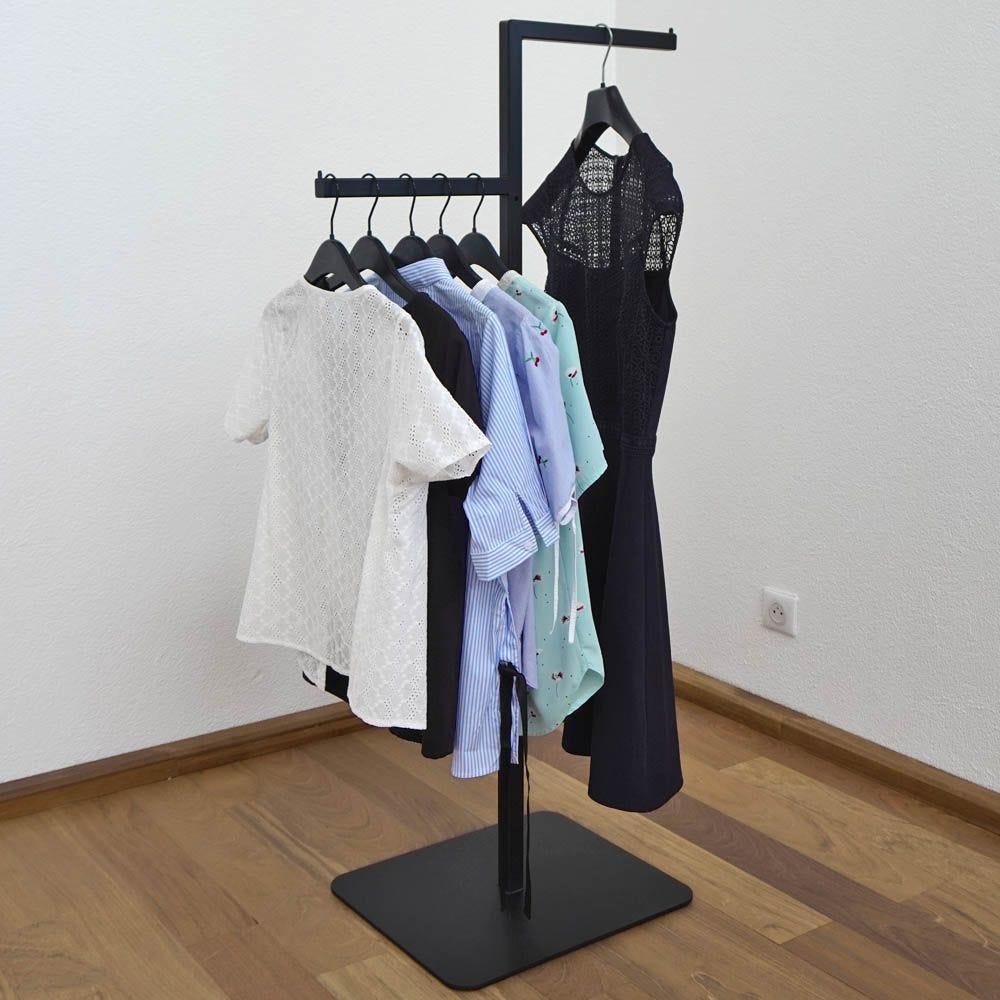 Portant textile bras decales - acier coloris noir - hauteur reglable 115 à 175cm