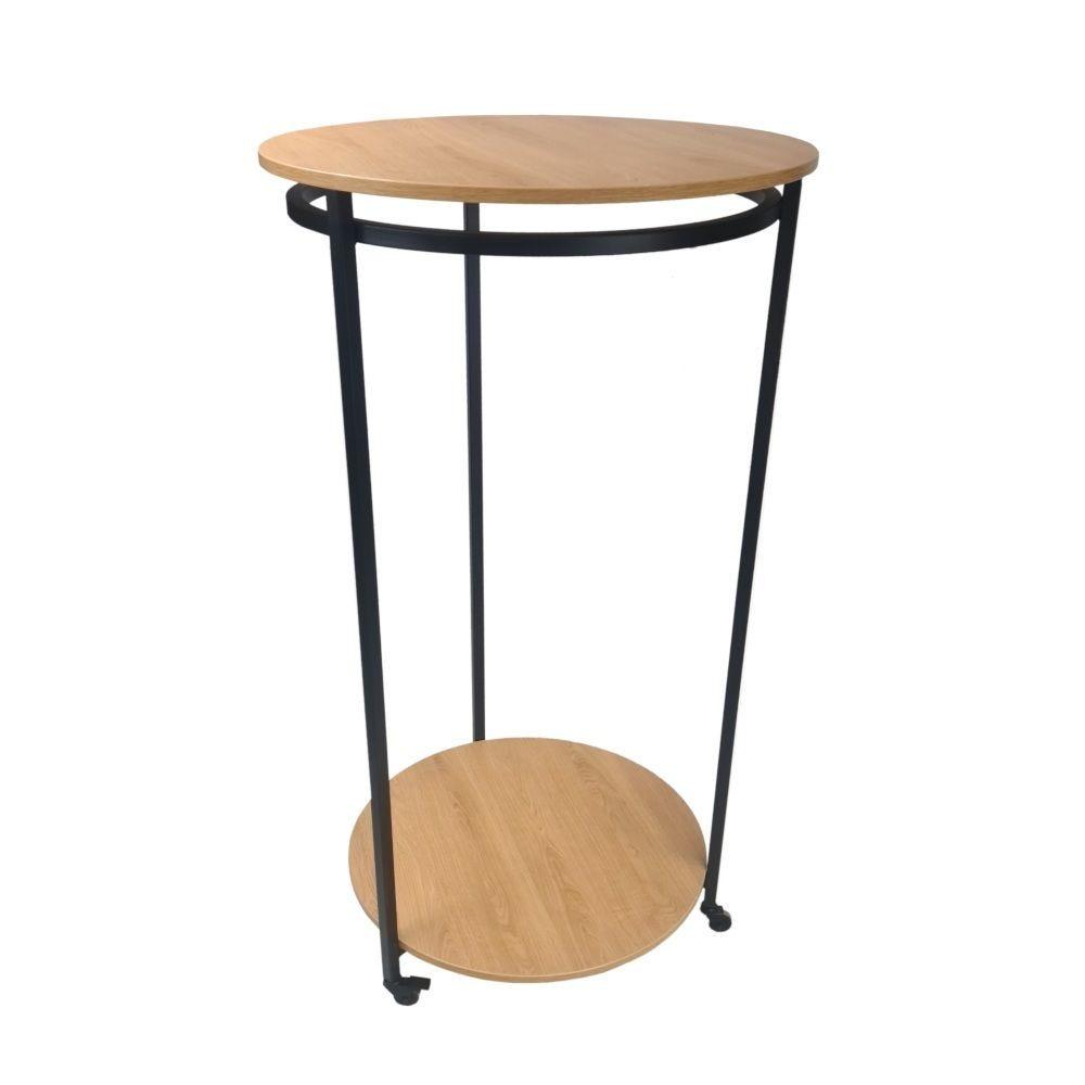 Portant penderie ronde acier bois(noir et chêne) Diam. 80cm Haut. 147cm - par 2