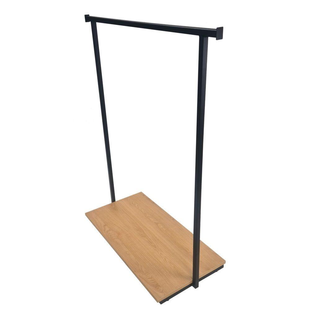 Portant penderie simple droit acier bois(noir et chêne) 110x47cm hauteur 130cm