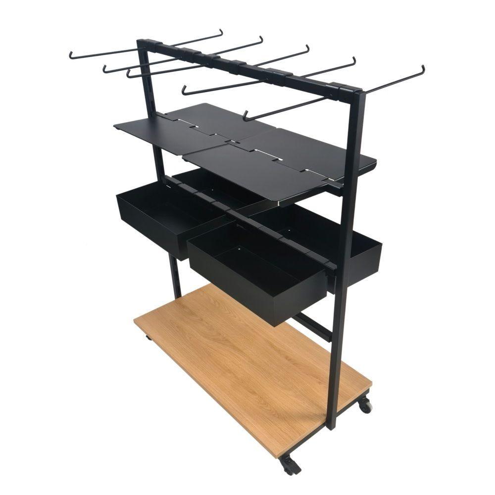 Meuble présentoir guide file (noir et chêne) Dim: 96,4 x 47 cm hauteur 110cm