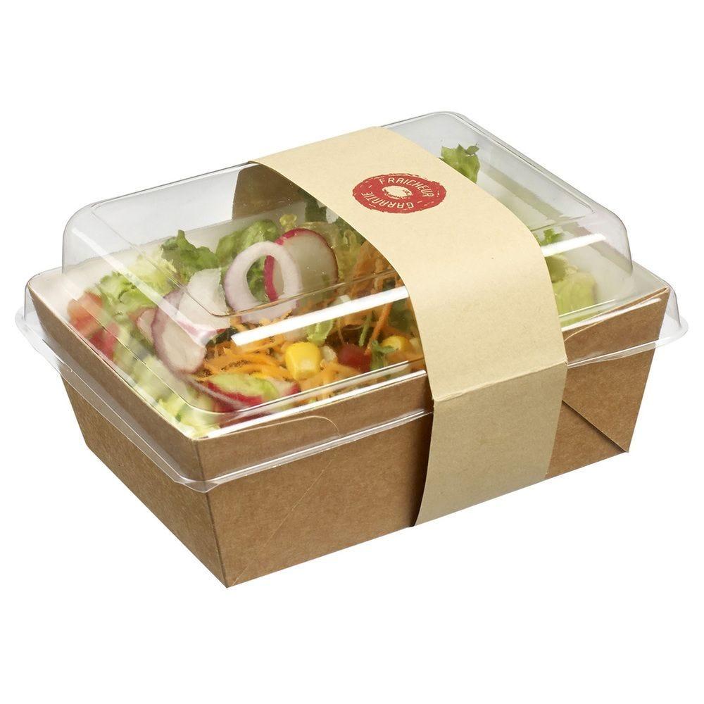 Panier salade 500ml 140x105mm (barquette carton/PLA+cv+bague) / 50 - par 400