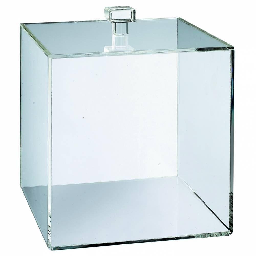 Cube PMMA 150x150x150 mm transparent épaisseur 3 mm + couvercle - par 6