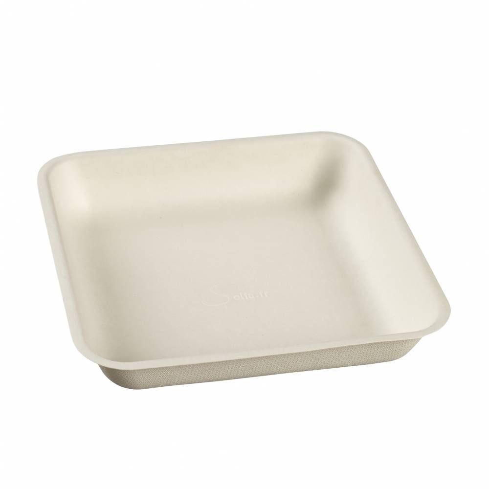 Assiette carrée pulpe de canne 192x192x35 mm - par 500