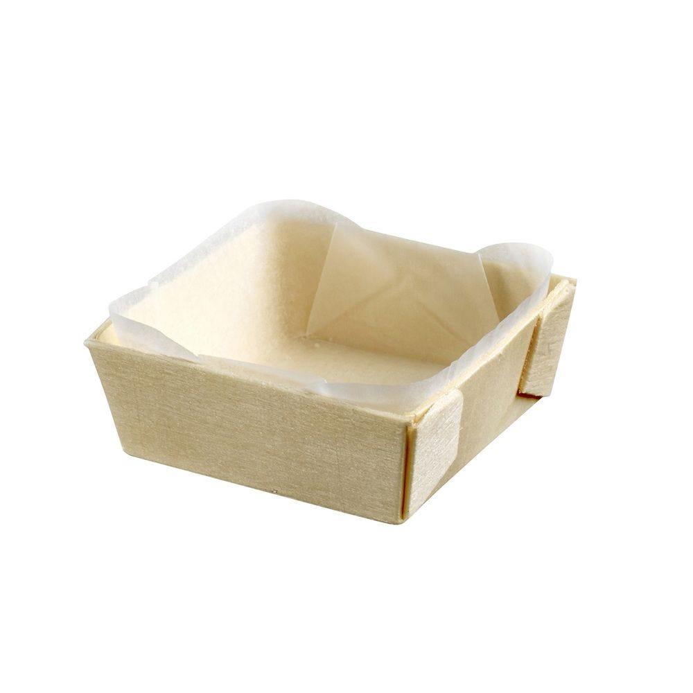 Barquette bois carrée avec PAPIER cuisson 55x55x20 mm, C&C x 25 - par 300