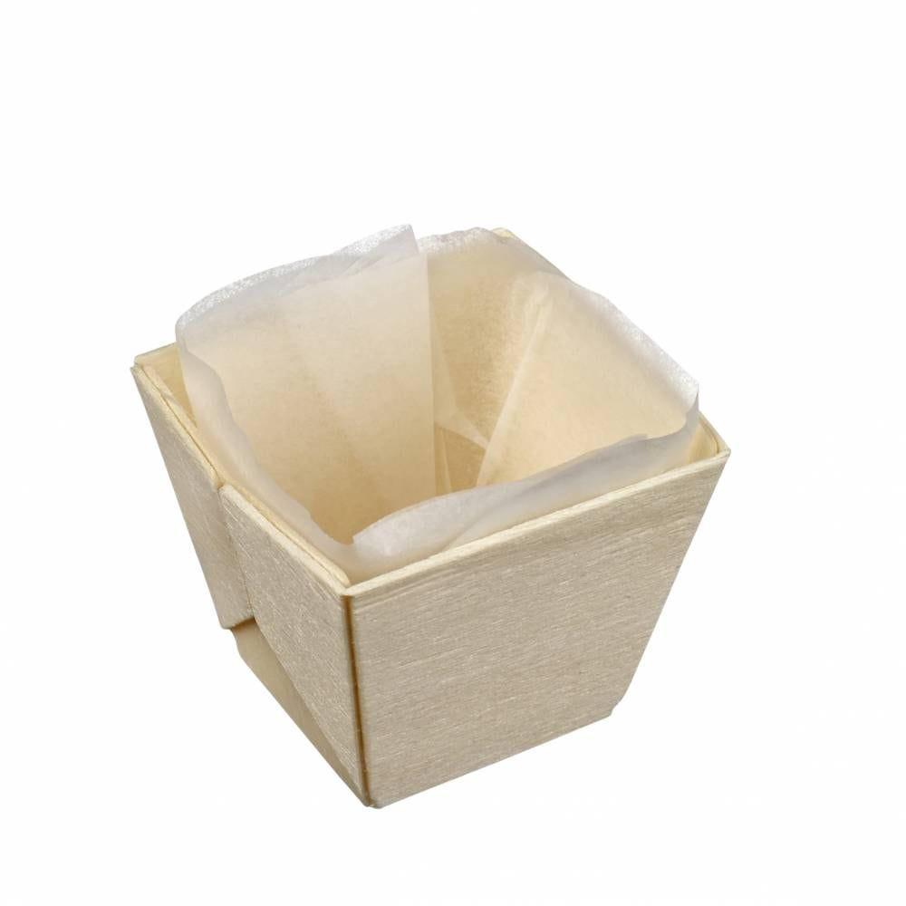 Barquette bois carrée avec PAPIER cuisson 50x50x45 mm, C&C x 25 - par 300