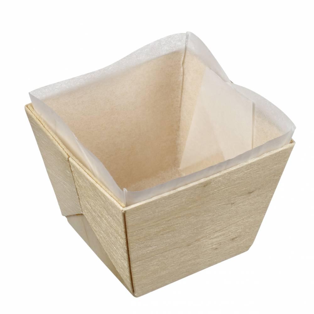Barquette bois carrée avec PAPIER cuisson 70x70x55 mm, C&C x25 - par 200