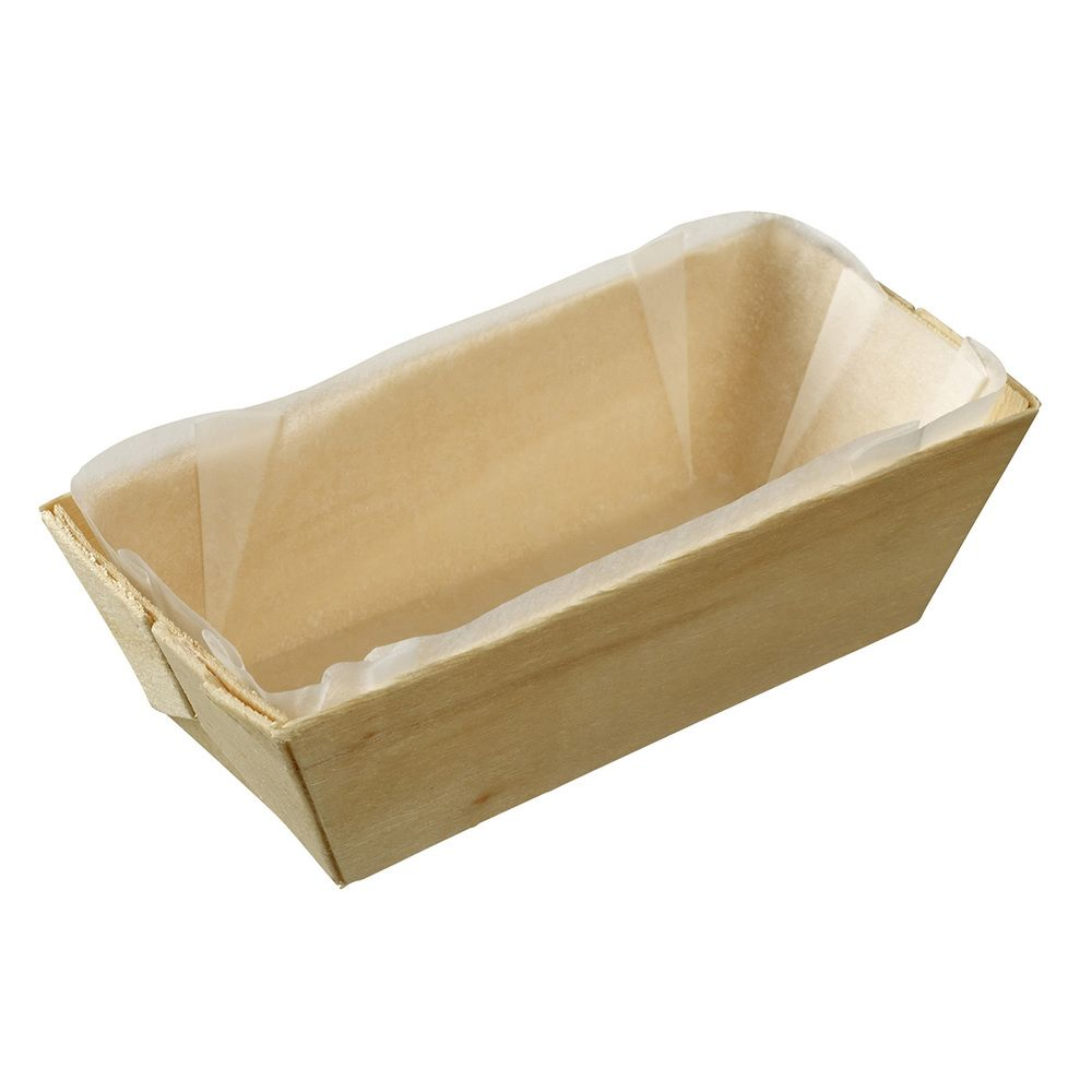 Barquette bois rectangle avec PAPIER cuisson 100x45x30 mm par 25 - par 200