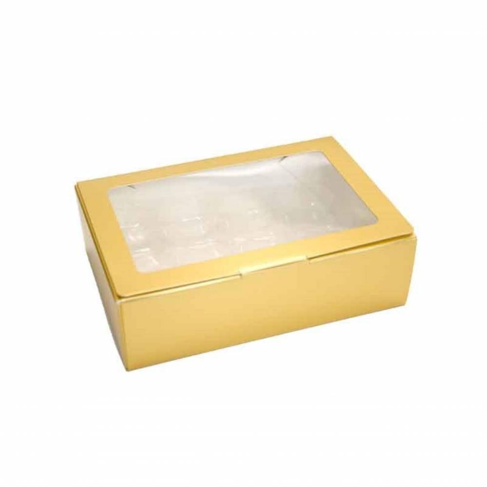 Boîte or mat 16 macarons 17,3 x 11,7 x 5,2 cm - Par 50